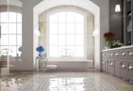 water standing on bathroom floor