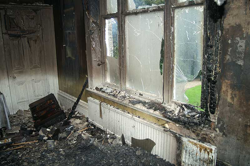 Room very damaged by fire