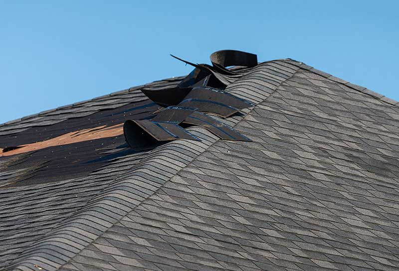 Roof damaged by storm